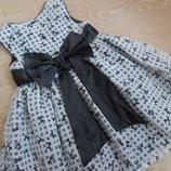 платье девочке 4-5 л детское серое бант нарядное 104-110 см George Джорж