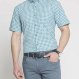 в наличии мужская рубашка LC Waikiki с коротким рукавом белого цвета в ярко-голубую клетку
