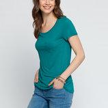 в наличии фирменная женская футболка LC Waikiki лазурного цвета с карманом на груди