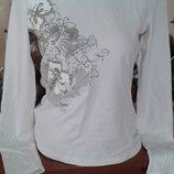 Белый нарядный лонгслив,реглан,футболка с длинным рукавом м-л