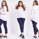 Женская летняя туника-рубашка до больших размеров 1038 Штапель Капюшон .