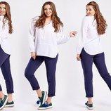 Женская летняя туника-рубашка до больших размеров 1038-1 Штапель Кокетка .