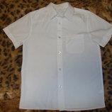 Белая рубашка с коротким рукавом на 7-8 лет рост 122-128см