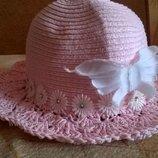 Летняя соломенная шляпка для девочки.
