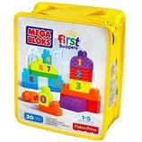 Mega Bloks Конструктор с цифрами 20 деталей Строй и учись считать First Builders 1-2-3 Count Playset