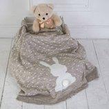 Вязаный плед для новорожденных MagBaby Ушастый мечтатель бежевый меланж