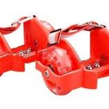 Ролики детские на пятку Flashing Roller светящиеся колеса полиуретан PU Красный,киев