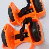 Ролики детские на пятку Flashing Roller светящиеся колеса полиуретан PU Оранжевый,киев