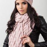 однотонный комплект, состоит из шапки и шарфа в разных цветах