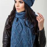 меланжевый комплект, состоит из шапки и шарфа в разных цветах