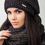 меланжевый комплект, состоит из шапки и снуда в разных цветах