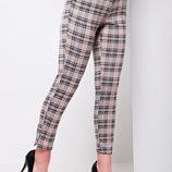 Бежевые клетчатые брюки