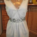 Шифоновая блуза-туника, расшита бисером