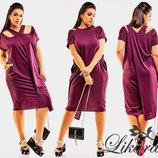 Стильное женское платье в больших размерах 575 Трикотаж Трансформер Кармашки в расцветках.
