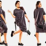 Стильное женское платье в больших размерах 576 Эмблема Драпировка Завязки в расцветках.
