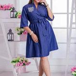 Женское стильное платье в больших размерах 03541 Джинс Клёш Карман .