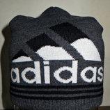 Шапка удлиненная Adidas темно-серая полу-шерсть с подкладкой.