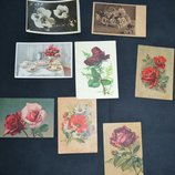 открытые письма почтовые карточки ссср и иностранные тематика цветы и растения 8 штук разные