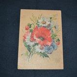 старинное открытое письмо букет цветов винтаж