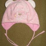 Велюровая шапочка на хб подкладке Мишутка 42 размер.