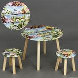 Столик круглый и два стульчика деревянные РОБОМАШИНКИ С 071
