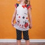 Комплект для девочки с красными бриджами в белый горох 30р
