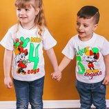 Оригинальная, красочная, яркая футболка для детей можно на День рождение 26-34р