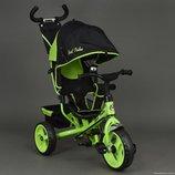 Детский трехколесный велосипед с ручкой 6570 Салатовый. Новинка 2017