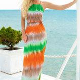 Трехцветный длинный сарафан