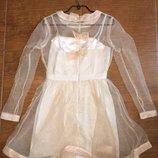Asos двойное платье цвета nude с персиком, с прозрачным пышным верхом