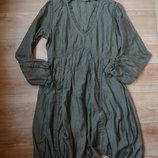 Шелковая туника - платье оливкового цвета .