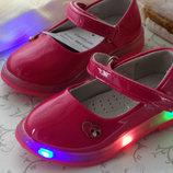 Туфельки для девочки с подсветкой 21,23,24 размер.