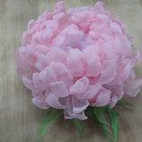 Авторская брошь хризантема Розовые облака , ручная работа, заколка, обруч