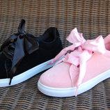 Слипоны криперы кроссовки с лентами бантами в стиле puma пудра розовые черные бордовые марсала