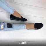Женские туфли черные замшевые Польша