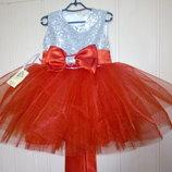 Нарядное платье Серебро с красным
