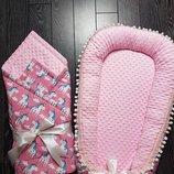 Яркий и в тоже время нежное одеяло-конверт на выписку для новорожденного