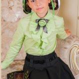 Блуза рубашка с длинным рукавом в школу девочкам салатовая школьная форма Милана