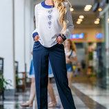 Прямые темно-синие брюки 857-1