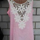 Нежно-Розовая блузка,майка с кружевом по спинке,хлопок,большой размер, f&f