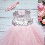 нарядное платье нежно-розовое с серебряными паетками Варианты