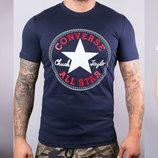 Футболка мужская хлопковая Converse белая синяя и серая Конверс