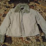 Серебристая куртка под замш, демисезон