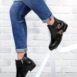 Ботинки женские челси на ремешках черные Beauty girls на маленьком каблуке