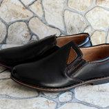 Подростковые кожаные туфли для мальчика .