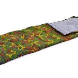 Спальный мешок одеяло с капюшоном 066 спальник камуфляж 190 30х75см, от 15 до 0