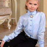 Распродажа 116, 122 Блуза рубашка с воротником стойкой с длинным рукавом школьная форма Милана