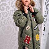 Зимняя куртка-пальто с нашивками для девочек 122-146р