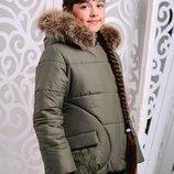 Модная Зимняя куртка асиметричного кроя для девочек 122-146р