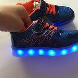 Кроссовки USB синие для девочки заряжаются